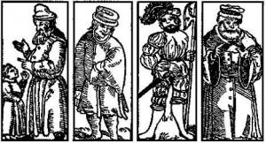 ארבעת הבנים על פי הגדת פראג, דפוס 1526 (מתוך התערוכה)