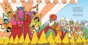 כפולת עמודים מתוך מסעות הדרקונית הגנדרנית מאת ליבי דאון, איורים: רחלי שלו / קטע מהביקור בהודו