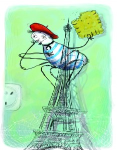 העכביש מרסל הוא סיפור על עכביש צרפתי שגר בדגם של מגדל אייפל (איור: אבי עופר, מתוך הספר)