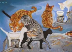 חתולי רחוב (ציור אורן נחום מתוך הספר)